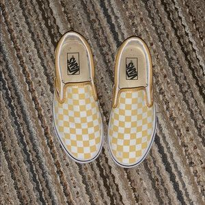 Yellow checkered slip on vans